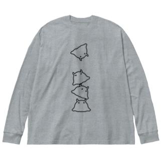 メンダコ Big silhouette long sleeve T-shirts