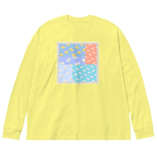 花模様重ね Big silhouette long sleeve T-shirts