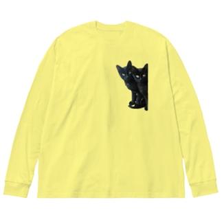 黒猫は見た Big silhouette long sleeve T-shirts