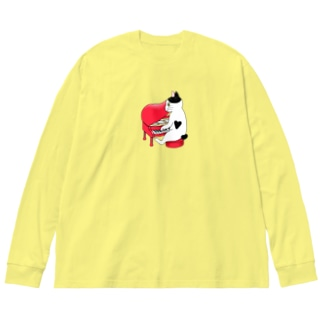 ピアノを弾く猫 Big silhouette long sleeve T-shirts