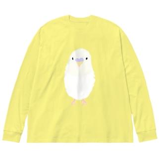 白いインコさん Big silhouette long sleeve T-shirts