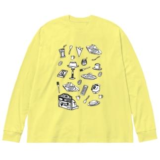 純喫茶 モノクロ Big silhouette long sleeve T-shirts