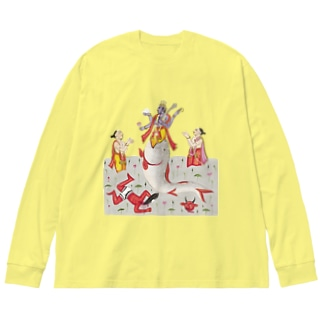 魚の口にヴィシュヌ降臨 Big silhouette long sleeve T-shirts
