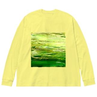 緑色 Big silhouette long sleeve T-shirts