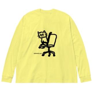 テレワークNOWねこ Big silhouette long sleeve T-shirts
