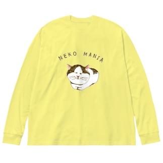 にゃんこ好き専用デザイン「猫マニア」 Big silhouette long sleeve T-shirts