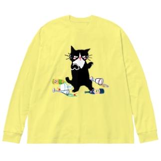酔拳キャット(黒猫) Big silhouette long sleeve T-shirts