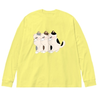 ハニカミにゃんこ Big silhouette long sleeve T-shirts