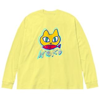 🍊蜜柑猫orange cat 🐈💕 Big silhouette long sleeve T-shirts
