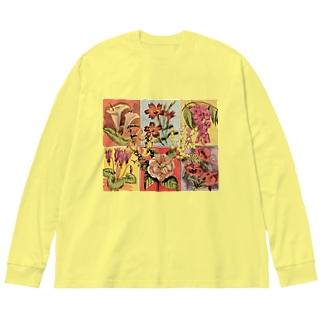 レトロ・フラワー Big silhouette long sleeve T-shirts
