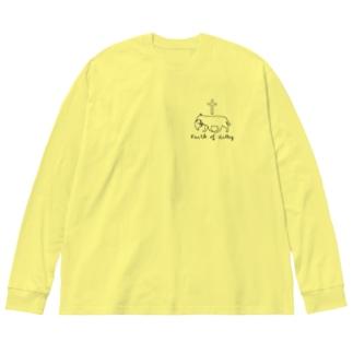 仔猫の信仰・Black Big silhouette long sleeve T-shirts