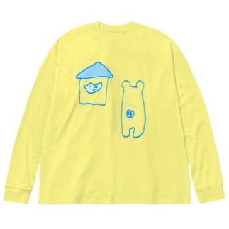 となりの鳥は青い Big silhouette long sleeve T-shirts