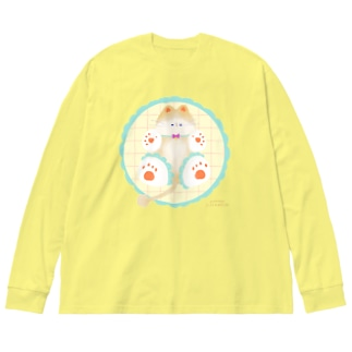 ねこのまめちゃん Big silhouette long sleeve T-shirts
