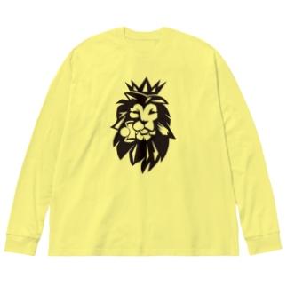 けん玉ライオン Big silhouette long sleeve T-shirts