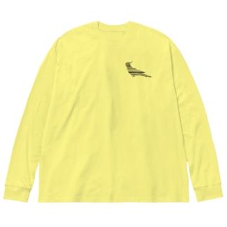 オカメインコ+ Big silhouette long sleeve T-shirts