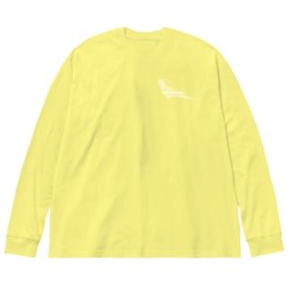 オカメインコ白+ Big silhouette long sleeve T-shirts