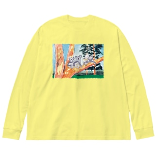 オーストラリアの親子 Big silhouette long sleeve T-shirts