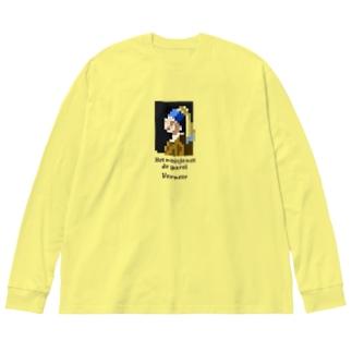 ドット 真珠の耳飾りの少女 Big silhouette long sleeve T-shirts