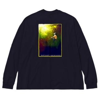 時計宇宙 Big silhouette long sleeve T-shirts