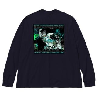 思考停止は電波障害のせい~Green Big silhouette long sleeve T-shirts