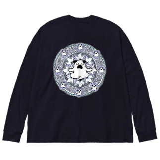 曼荼羅ぷーやん(青) Big silhouette long sleeve T-shirts