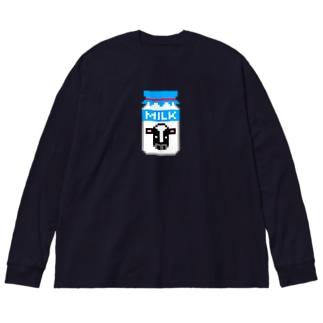 ドット牛乳 (レトロ瓶) Big silhouette long sleeve T-shirts