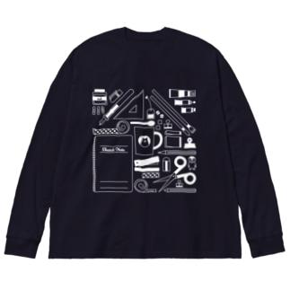 せいかつ(白) Big silhouette long sleeve T-shirts