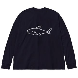 わりと単純なサメ 濃色用 Big silhouette long sleeve T-shirts
