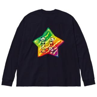 パンダスター Big silhouette long sleeve T-shirts