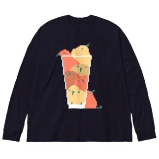 もちもちのとりたち-コップ- Big silhouette long sleeve T-shirts