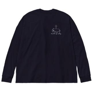 仔猫の信仰・White Big silhouette long sleeve T-shirts