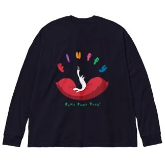 ふわふわオコジョ Big silhouette long sleeve T-shirts