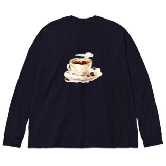 カフェの珈琲 Big silhouette long sleeve T-shirts