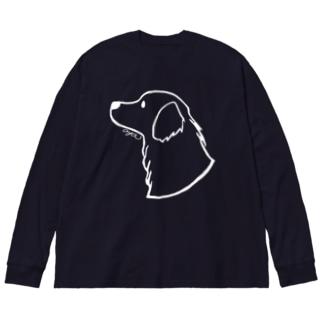 ゴールデン・レトリーバー〈白線〉 Big silhouette long sleeve T-shirts