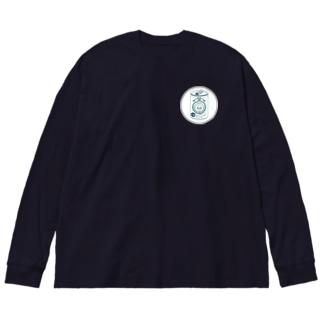 生ビールたぬき Big silhouette long sleeve T-shirts