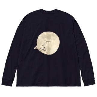 満月猫 Big Silhouette Long Sleeve T-Shirt