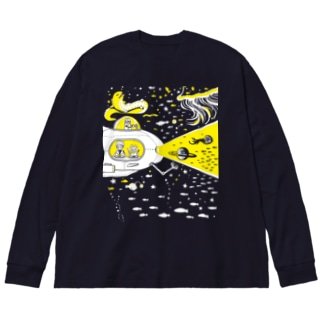 宇宙潜水艇 Lagopus muta Big silhouette long sleeve T-shirts
