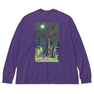 moonlight garden Big silhouette long sleeve T-shirts