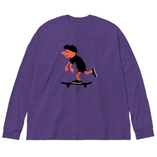 スケートボードゴーゴー Big silhouette long sleeve T-shirts
