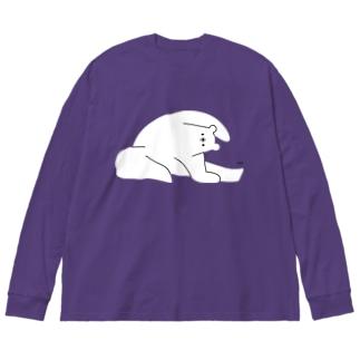 しろくまヨガD Big silhouette long sleeve T-shirts
