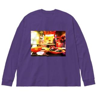 星港食神 Big silhouette long sleeve T-shirts