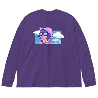 お洒落に憧れる女の子 Big silhouette long sleeve T-shirts
