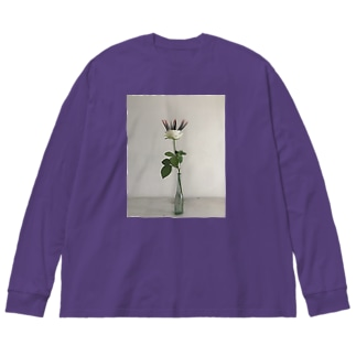 punk hair の花 Big silhouette long sleeve T-shirts