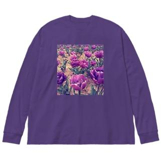 チューリップ 紫 Big silhouette long sleeve T-shirts