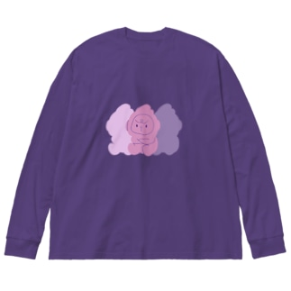 パープルごりたま Big silhouette long sleeve T-shirts