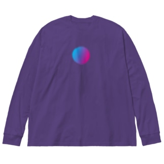 宇宙ボタン Big silhouette long sleeve T-shirts