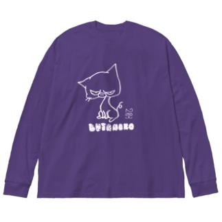 ぶたねこ。濃色 Big silhouette long sleeve T-shirts