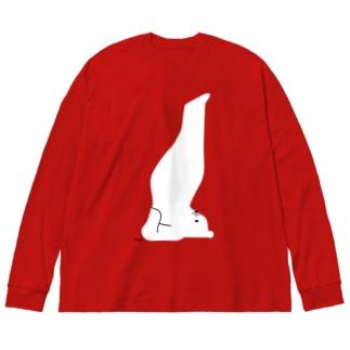 しろくまヨガA Big silhouette long sleeve T-shirts