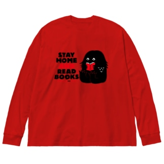 SAIWAI DESIGN STOREのアマビエ (STAY HOME AND READ BOOKS) Big silhouette long sleeve T-shirts