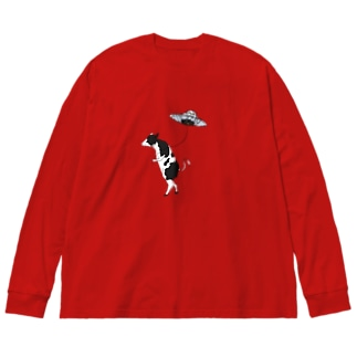 UFOと牛さん Big silhouette long sleeve T-shirts